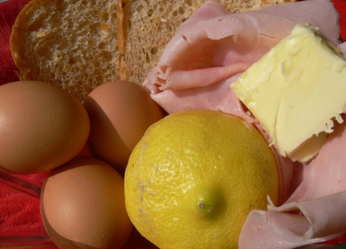 Eggs, bread, butter, ham, lemon