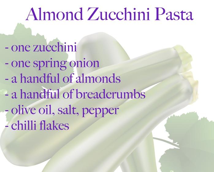 ingredients almond pasta zucchini courgette
