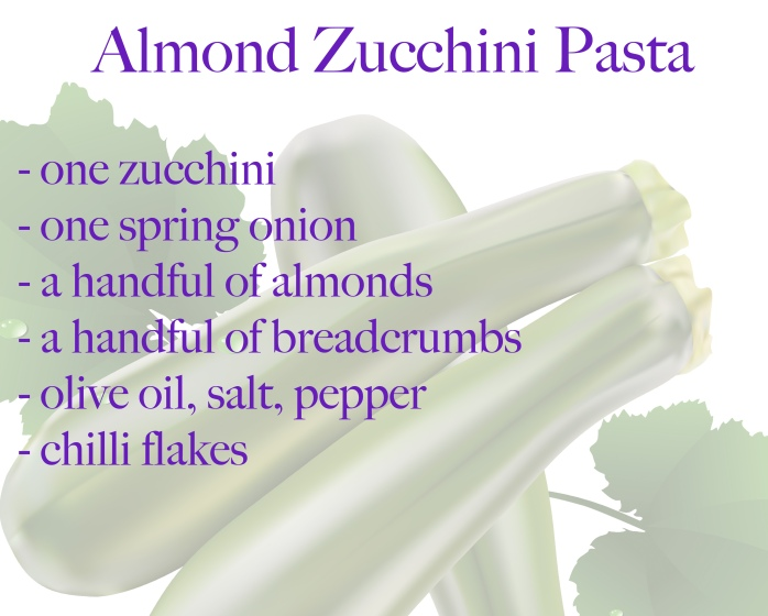 ingredients almond pasta zucchini courgette