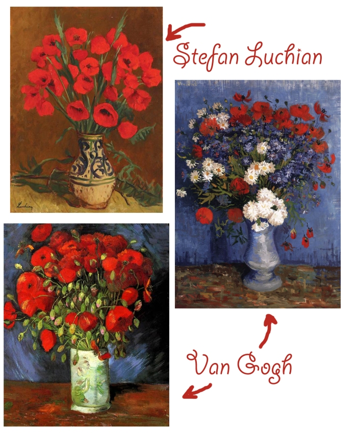 vases van gogh stefan luchian poppies poppy flower