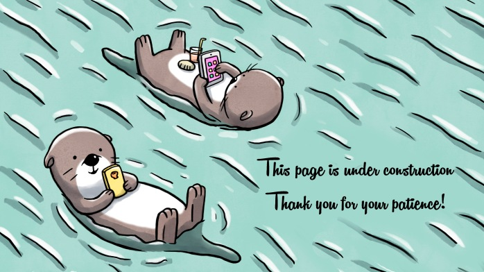 Two otters floating on water holding mobile and tablet